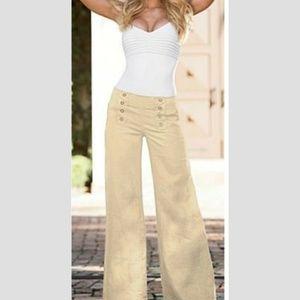 New Max Studio linen wide leg sailor pants 6 khaki